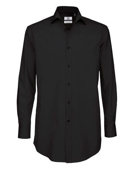 Poplin Shirt Black Tie Long Sleeve / Men Black