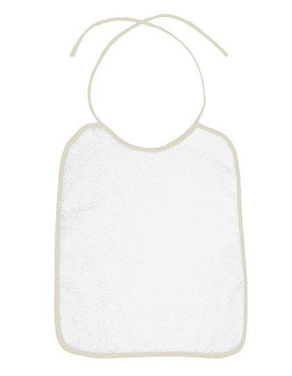 Piped Border Baby Bib Terry Ivory (Beige)