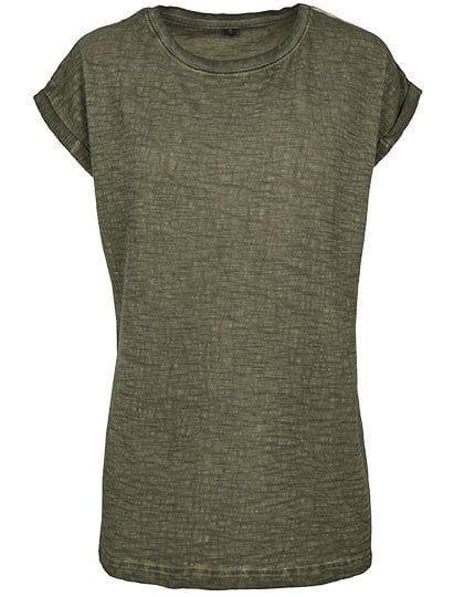 Ladies` Spray Dye Extended Shoulder Tee Olive (Spray Dye)
