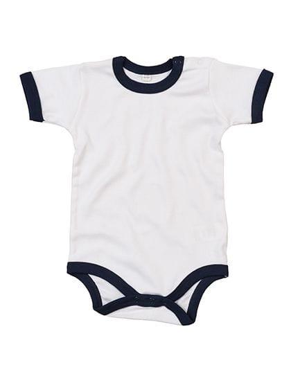 Baby Ringer Bodysuit White / Nautical Navy