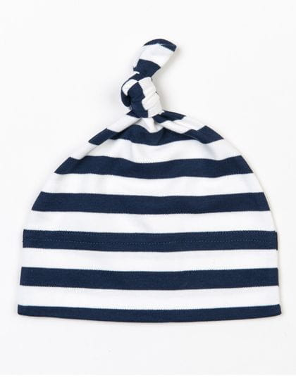Baby Stripy One Knot Hat Navy / Washed White