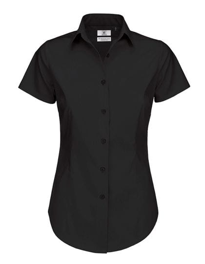 Poplin Shirt Black Tie Short Sleeve / Women Black