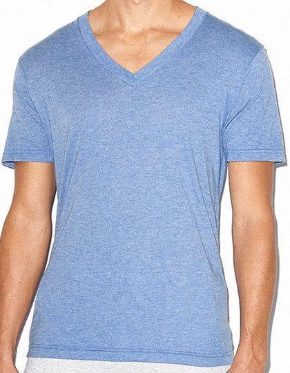 Unisex Tri-Blend Short Sleeve V-Neck T-Shirt Athletic Blue