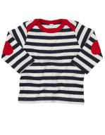 Baby Stripy Long Sleeve T Navy / Washed White / Red