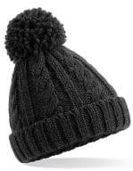 Junior Cable Knit Melange Beanie Black