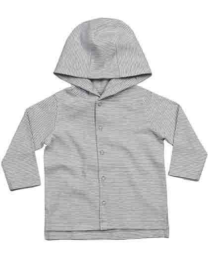 Baby Striped Hooded T White / Heather Grey Melange