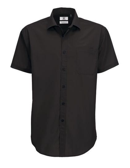 Poplin Shirt Smart Short Sleeve / Men Black