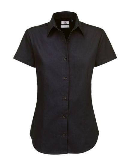 Twill Shirt Sharp Short Sleeve / Women Black