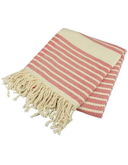 Hamamzz® Original Bodrum De Luxe Towel Classic Red / Ivory