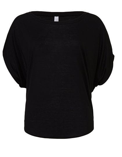 Flowy Draped Sleeve Dolman T-Shirt Black