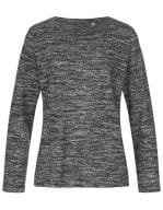 Knit Long Sleeve Sweater Women Dark Grey Melange