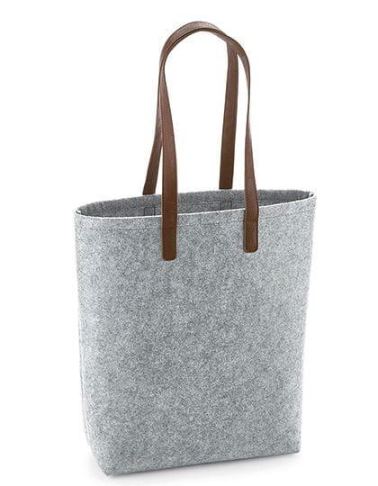 Premium Felt Bag Grey Melange / Tan