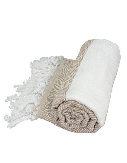 Hamamzz® Marmaris De Luxe Towel Sand / White