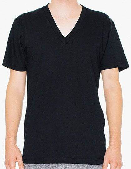 Unisex Fine Jersey V-Neck T-Shirt Black