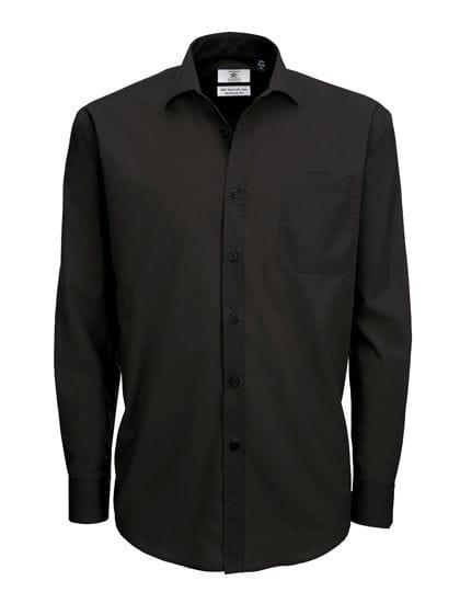 Poplin Shirt Smart Long Sleeve / Men Black