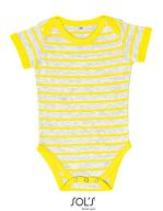 Baby Striped Bodysuit Miles Ash (Heather) / Lemon