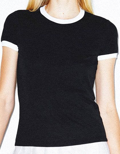 Women`s Poly-Cotton Ringer T-Shirt Black / White