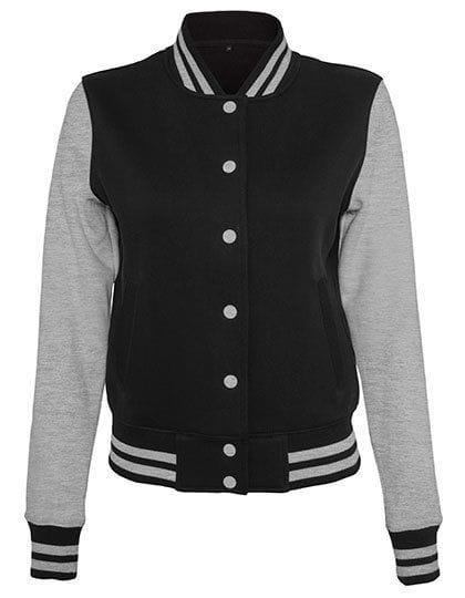 Ladies` Sweat College Jacket Black / Heather Grey