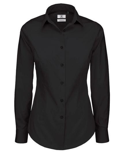 Poplin Shirt Black Tie Long Sleeve / Women Black