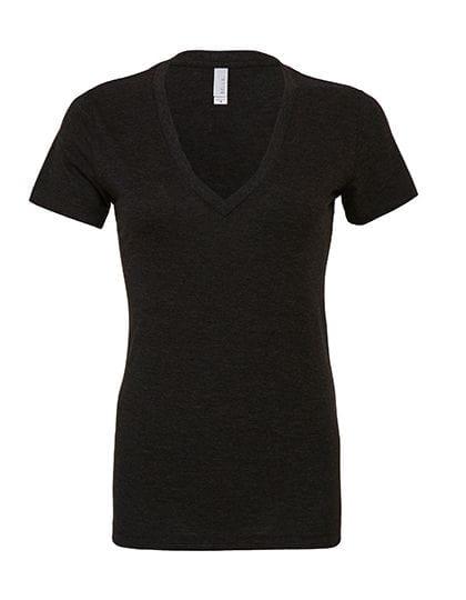 Women`s Triblend Deep V-Neck T-Shirt Charcoal-Black Triblend (Heather)