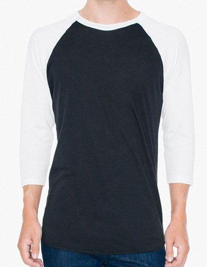 Unisex Poly-Cotton ¾ Sleeve Raglan T-Shirt Black / White